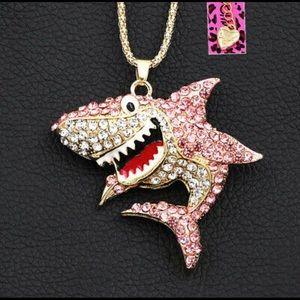 Betsey Johnson Pink Crystal Shark Pendant & Chain